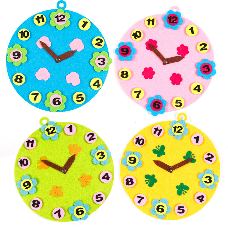 DIY Handmade Non-woven Kindergarten Digital Clock Match Time For Children Recognize Colour Number Education Montessori Toys Gift