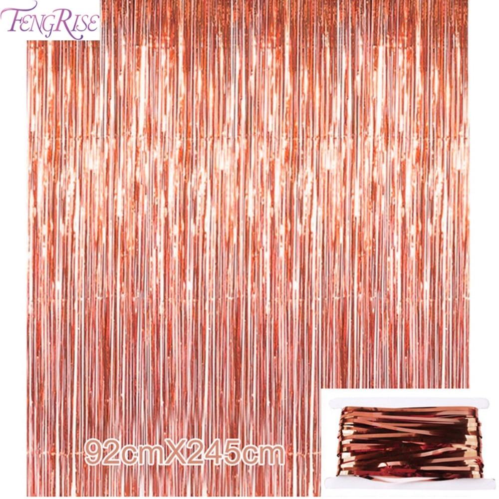 Fengrise 92 245cm Rose Gold Party Decoration Shimmering