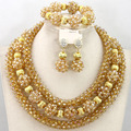 Fabulous Crystal Rhionestone Necklace Set 2017 Gold Jewelry Set Wedding Jewelry Set Free Shipping WB287