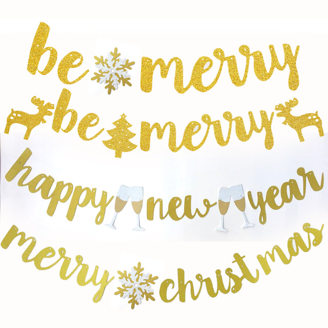 merry christmasbe merryhappy new year banners glitter banners home