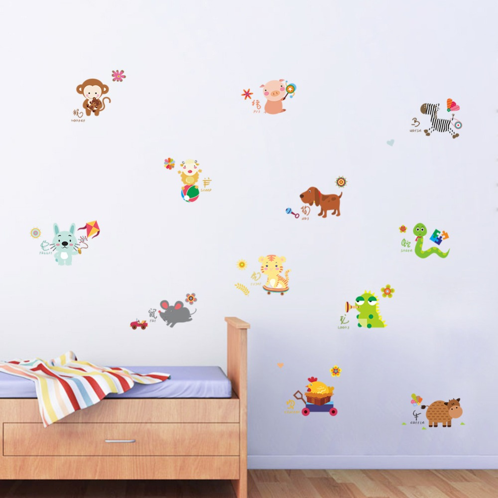 % 3D Cartoon ZOO animal monkey flowers cat pig wall stickers home decoer for kids room bedroom living room Art poster wallpaper