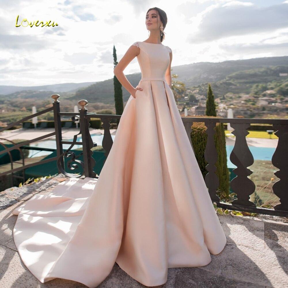 bea82f986001e Loverxu Simple Matte Satin Cap Sleeve A Line Wedding Dresses 2019 Luxury  Appliques Lace Court Train Button Vintage Bridal Gowns ~ Top Deal July 2019