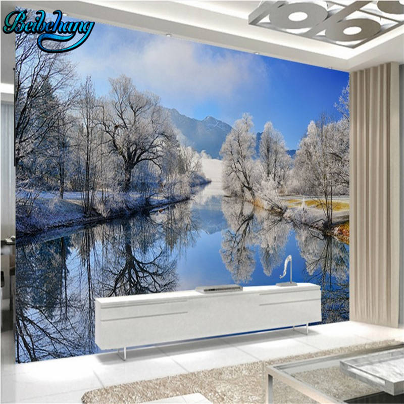 beibehang Mountain village river water reflection beautiful natural landscape background wall custom wallpaper murals
