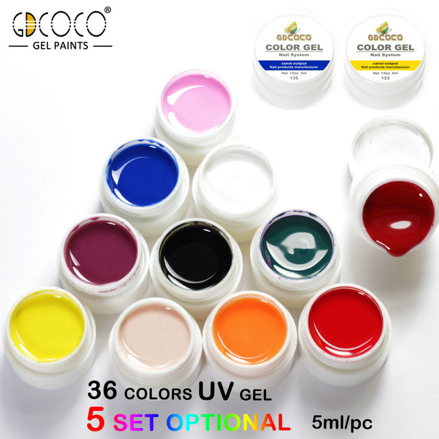2018 Newest gdcoco paint gel nail art tips 5ml 36 color uv/led gel ...