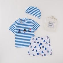 Boys Clothing 2019 New Summer Boy Swimsuit Top Shirts+Shorts Kids+Swim Hat Swimwear Beachwear Sports Swimming