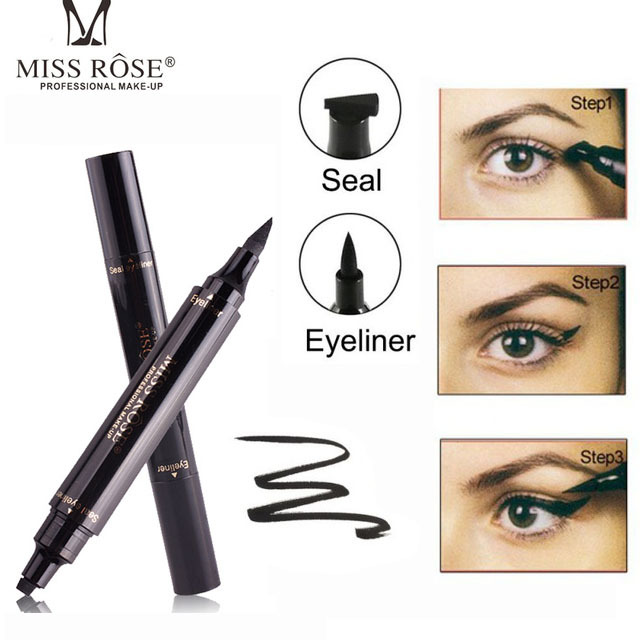 Maquillaje líquido Rosa delineador de ojos lápiz maquiagem secado rápido impermeable ala delineador de ojos con Miss sello ojo lápiz envío gratis