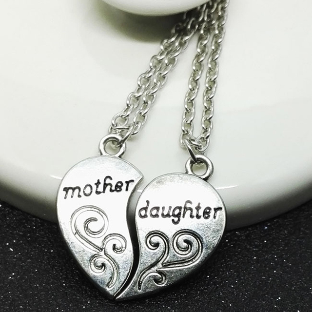 Mother and Daughter Heart Pendant Necklace