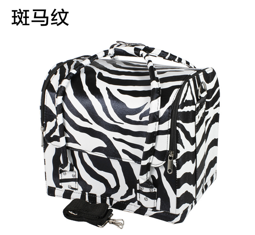 Fashion Zebra Stripe Cosmetic Organizer Travel Make Up Box Large Capacity Cosmetic Bag Portable Makeup Box Beauty Vanity Case