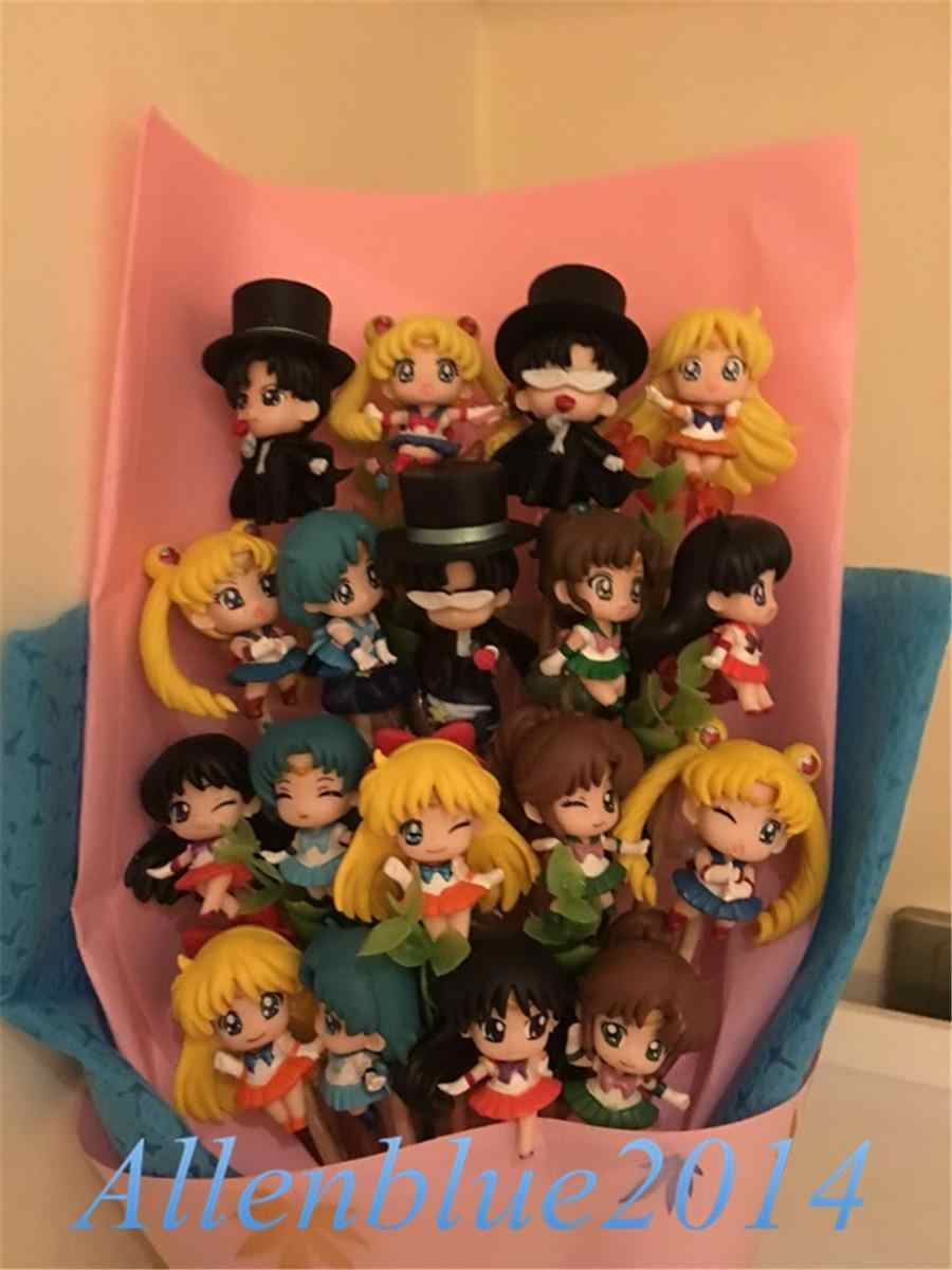 Anime Sailor Moon Cute Figure+Soap Flowers Present Birthday Xmas Gift  Tsukino Usagi Chiba Mamoru Cospaly Props Toy Doll Box New