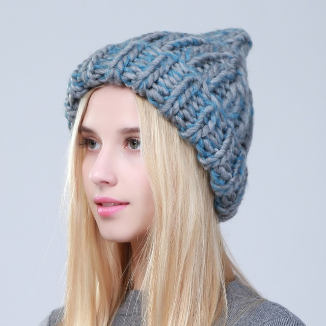 Geebro 2019 Female Winter Warm Mixed Color Beanies Handmade Thick Stick Knitted Coarse Lines Hat Crochet Women Lovely Caps 1