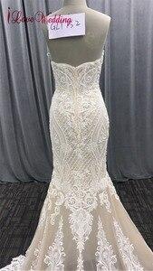 Image 5 - 2020 אופנה חדשה בת ים אפליקציות חתונת שמלה ארוך רכבת ואגלי כלה שמלת robe דה mariee תחרה שרוולים שמלת כלה