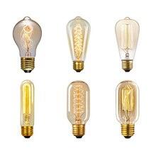 Retro Edison Light Bulb E27 220V 40W ST64 A19 T10 T45 Filament Incandescent Ampoule Bulb Retro Edison Lamps