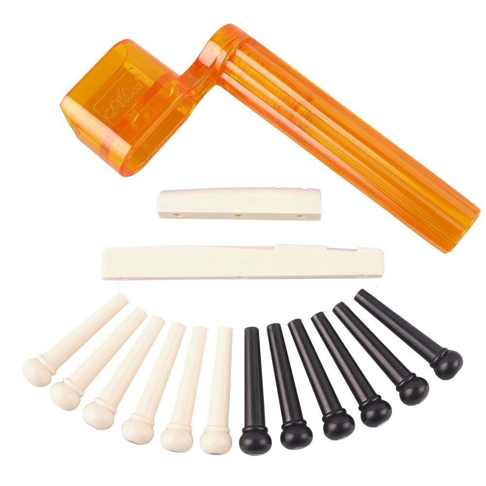 <font><b>Acoustic</b></font> <font><b>Guitar</b></font> Parts Set Alice 6pcs Black & 6pcs Ivory <font><b>Bridge</b></font> Pin+String Winder+Nut <font><b>Saddle</b></font> Set Guitarra Instrumentos Musicais10 image