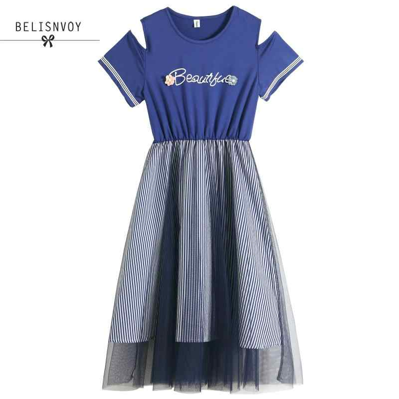 Японский Мори девушка летнее женское милое платье с буквенным принтом Бисероплетение голубое белое Сетчатое лоскутное платье хлопок Тюль Kawaii Vestidos