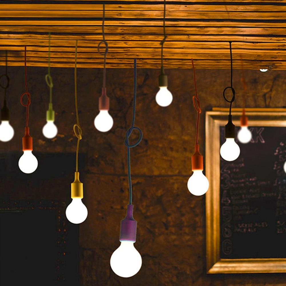 1pc E27 Chandelier Light Fixture Hanging Line Colorful Silicone Rubber Ceiling Vintage Pendant Lamp Holder E27 Lamp Socket