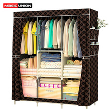 Magic Union Simple Modern Wardrobe Dust proof Fabric Cloth Wardrobe Assembled Steel Reinforced Steel Rack Storage Cabinet