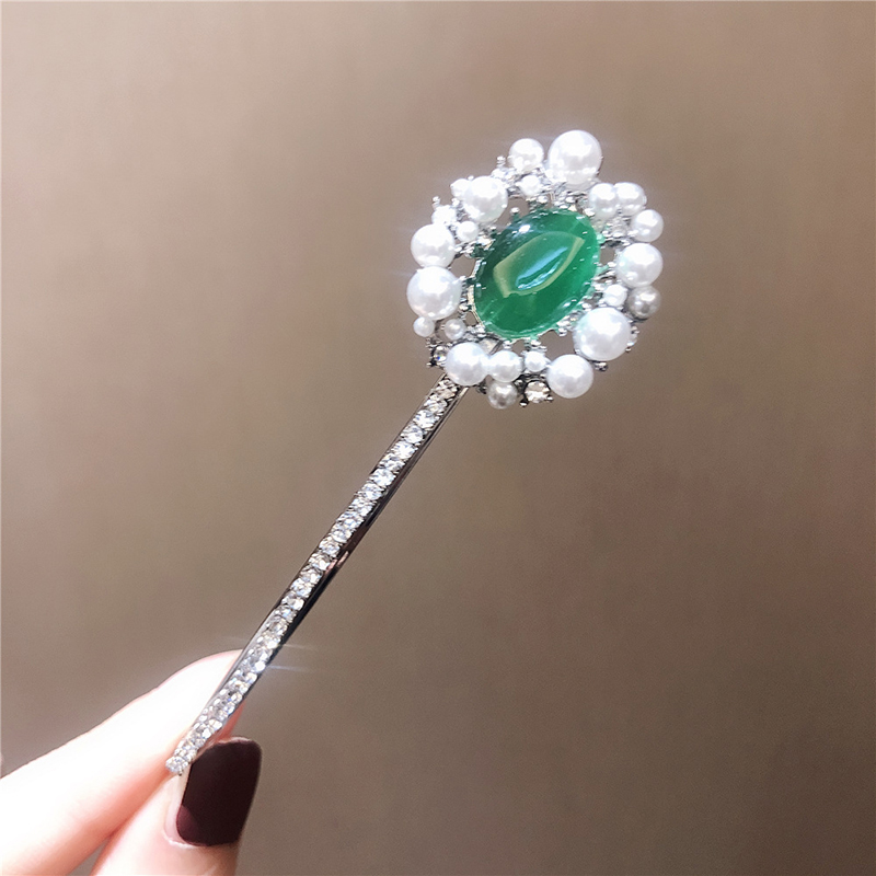 Ruifan Vintage Simulated Emerald Pearl Crystal Metal Hair Pins Accessories Wedding Jewelry Girl Decoration For The Hair YHA005