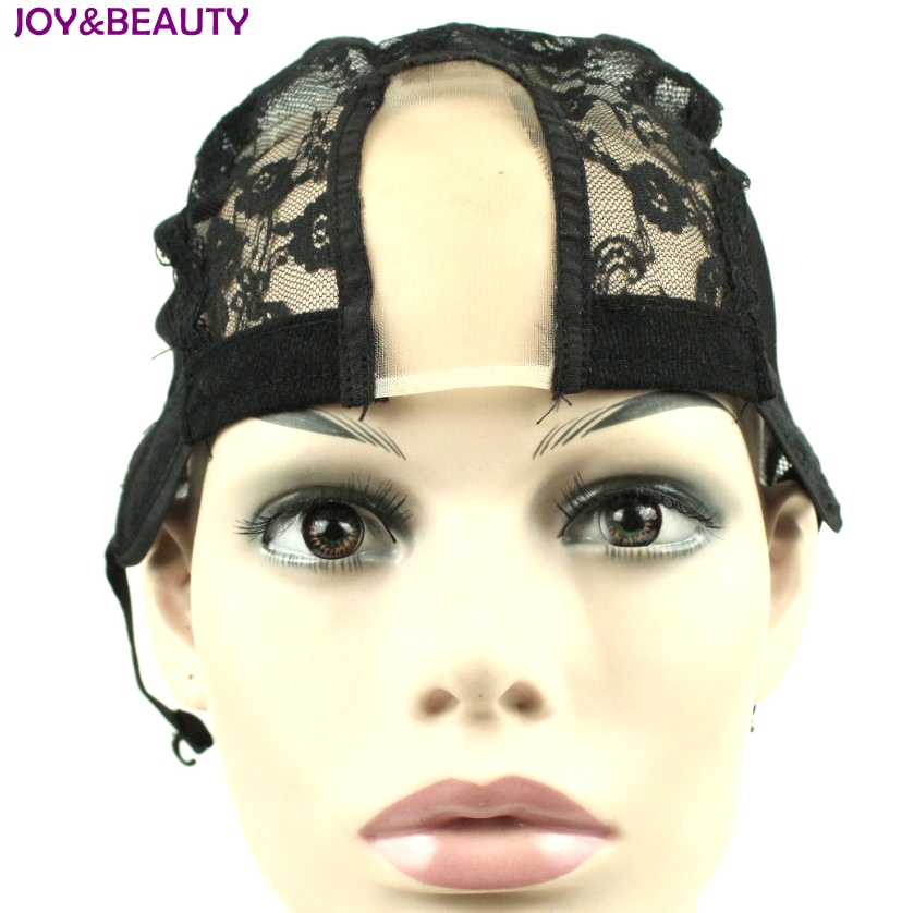 JOY&BEAUTY Hair U Part Glueless Short Straight Lace Wig synthetic Cap For Making Wigs With Adjustable Straps Weaving Caps
