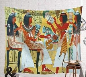 Image 2 - CAMMITEVER Tempo Pendurado Na Parede Do Vintage Egito Pessoas Lençóis Tapeçaria Decorativa Mistério Da Arte da Praia Mat 130x150cm 150x200cm