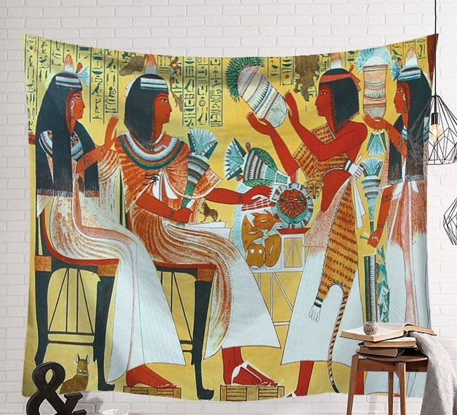 Image 2 - CAMMITEVER Vintage Egypt Time Wall Hanging People Bed Sheets Decorative Tapestry Mystery Art Beach Mat 130x150cm 150x200cm-in Tapestry from Home & Garden
