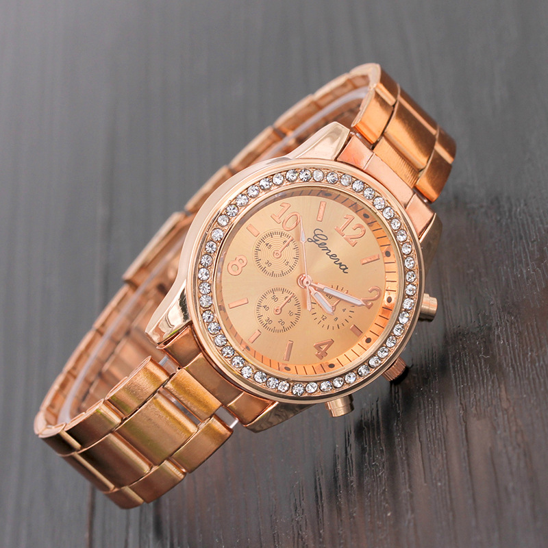 TIke Toker Luxury Rose Gold Women Watches geneva diamond watch Metal Steel Alloy Clock Lady Male Wristwatches relogio feminino08 in Quartz Watches from Watches