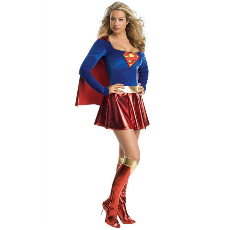 Adulto Supergirl Costume Cosplay 2017 Super Woman Supereroe Sexy Fancy Dress con stivali Ragazze Superman Costumi di Halloween Abiti