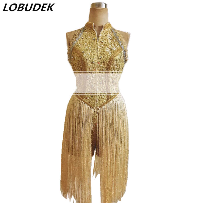 Customized Female Gold Tassels Bodysuit Sparkly Sequins Pearls Jumpsuits Nightclub DJ Singer Stage Wear Bar Concert Show Costume