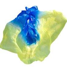 Silk Belly Dance Veil Belly Dance Veil Shawl Scarf Royal blue+Yellow Belly Dance Practice Performance Silk Veils 250/270*114 cm