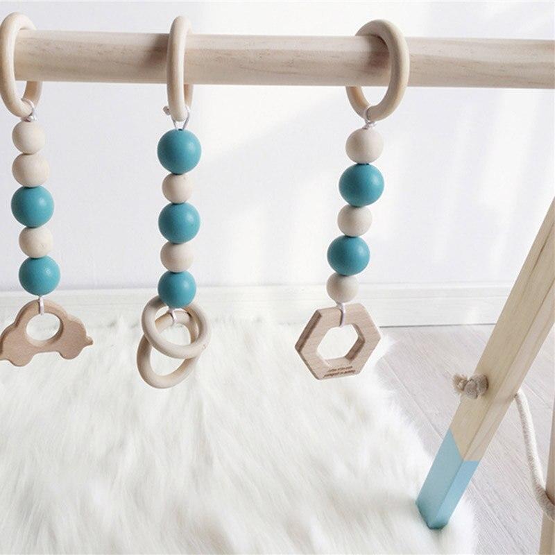Cadre nordique de gymnastique d'activité de bébé avec des Mobiles pour les nouveau-nés décor de chambre de bébé en bois début jouets éducatifs photographie Prop - 6