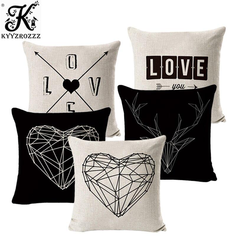 Nordique géométrique cerf amour taie d'oreiller housse de coussin décor à la maison coussin taie d'oreiller décorative oreiller XO lettre Lien taie d'oreiller