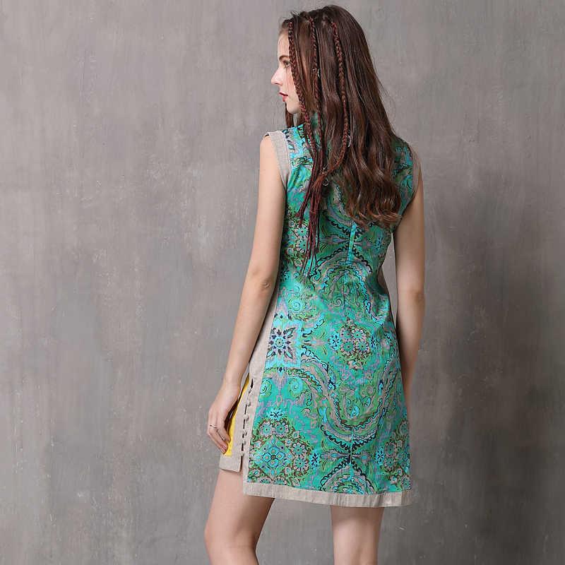 קיץ שמלת 2019 Yuzi. עשוי Boho חדש כותנה פשתן נשים שמלות מנדרינית צווארון שרוולים Cheongsam בציר קיצי A6011
