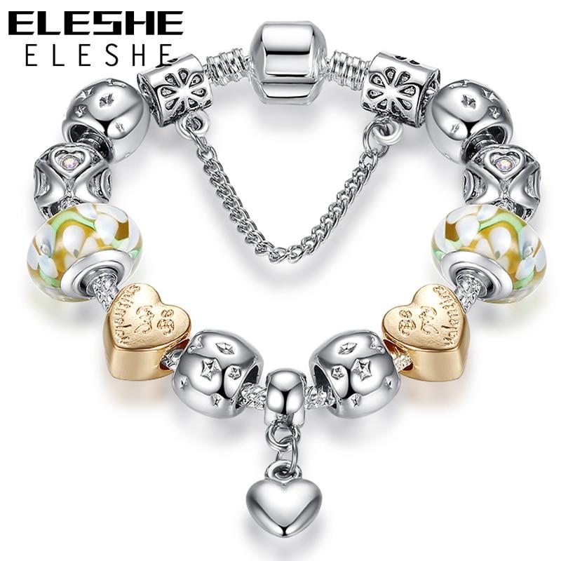 Brățări de modă ELESHE Brățări bijuterii Lanț de siguranță Lanț de inimă Brățară brățară de mărgele de cristal brățară pentru femei cadou de Crăciun