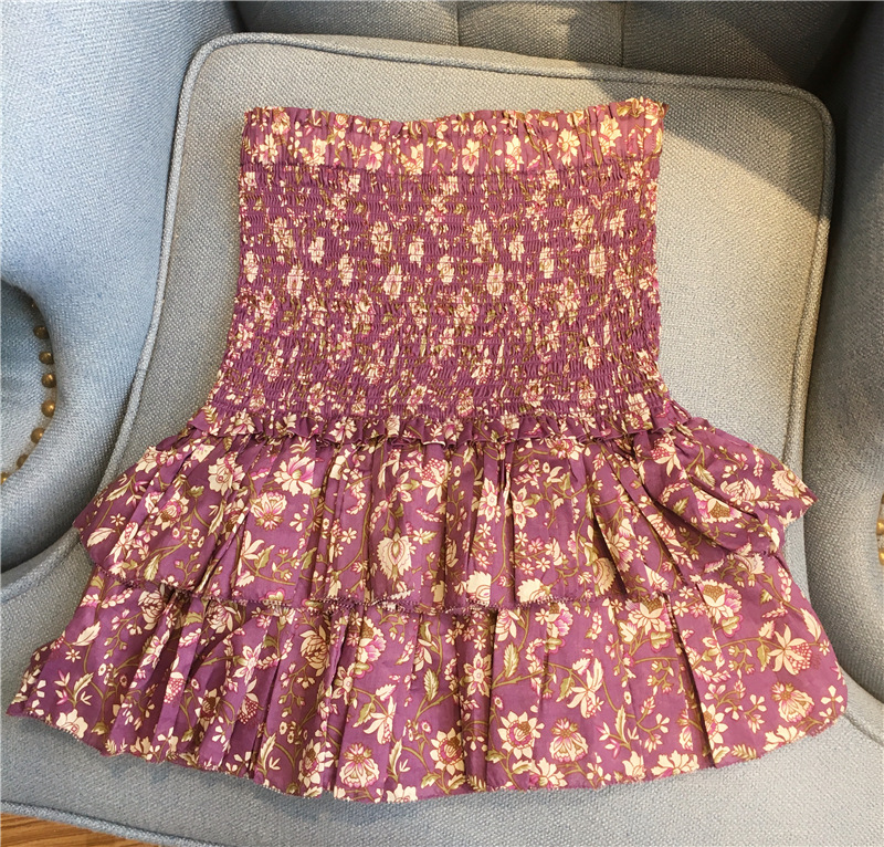 Florale Haute Taille pourpre 2018 Jupe Court Coton As Fumé Mode Show Vintage Ruches print Naomi De Femme New Jupes wTvPC0n0q