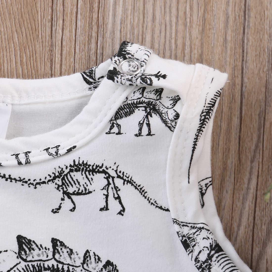 2017 Одежда для новорожденных мальчиков и девочек хлопковый комбинезон с динозаврами, костюм без рукавов
