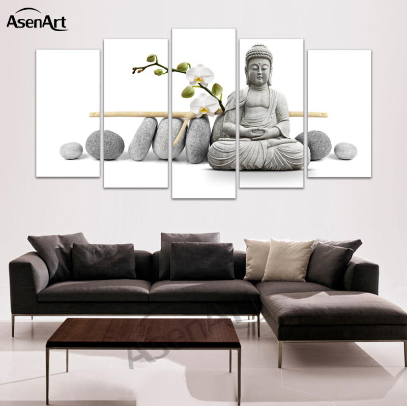 modern artwork for living room. 5 Panel Painting Flower Stone Buddha Wall Art Canvas Print Modern Artwork  for Living Room Home Decoration Unframed in Calligraphy from