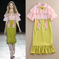High Quality 2016 Summer New Fashion Doll Collar Flounced Stitching Sexy Package Hip Women Dress Embroidered Ladies Fresh