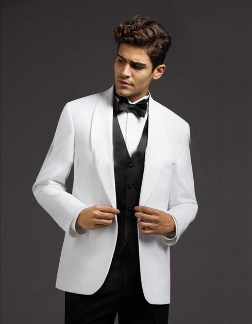Mens Suits Groom Tuxedos White Jacket With Black Pants Prom Party ...