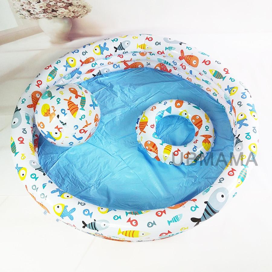 132 cm * 28 cm en plastique gonflable anneau de bain plage balle Drain trous au fond mignon dessin animé poisson motif enfant bébé piscine