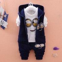 2017 New Autumn Baby Girls Boys Minion Suits Infant Newborn Clothes Sets Kids Vest T Shirt