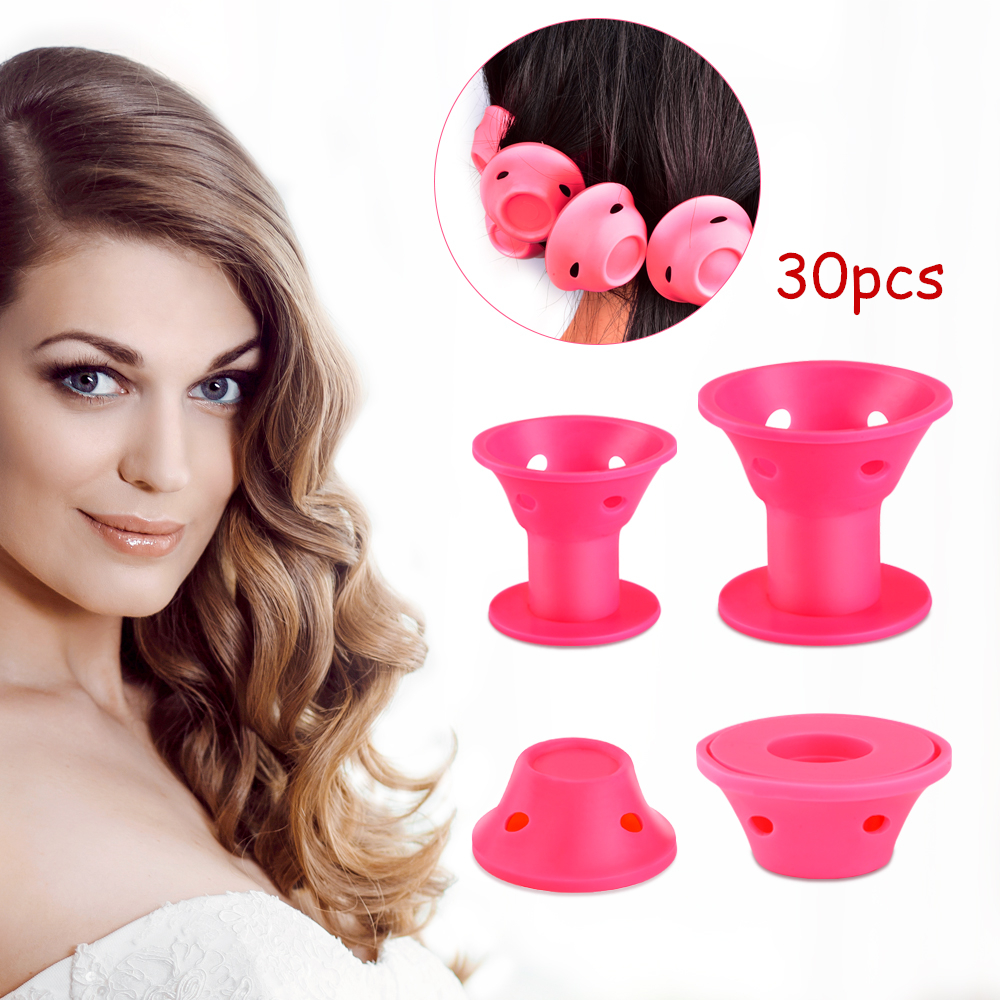 10/30pcs Silicone Reusable Hair Rollers Sleep Curler Soft Curlers Twist Spiral Magic Curls Styling Tool Salon Supply