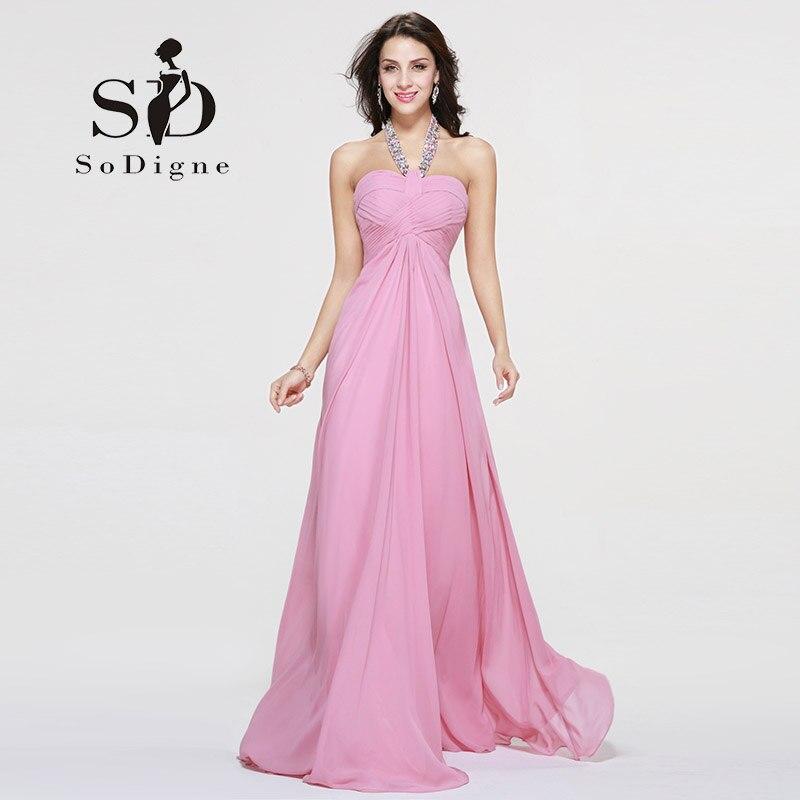 4d1e679f939 Detail Feedback Questions about Prom Dress 2018 SoDigne Crystal Lacing  Halter Pink Hot Sale Vestido De Festa Longo A Line Off The Shoulder Girls  Dress To ...