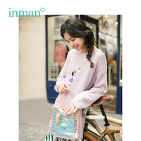INMAN 2019 Spring Autumn embroidery slash neck mid long loose sweaters pullovers women