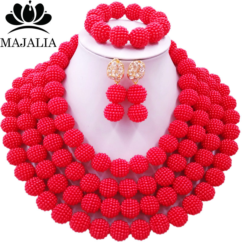 Majalia Classic charming Nigerian Wedding African Bead Jewelry Set Red Crystal Necklace Bride Jewelry Sets 4CB003Majalia Classic charming Nigerian Wedding African Bead Jewelry Set Red Crystal Necklace Bride Jewelry Sets 4CB003