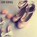 LIN KING Fashion Buckle Straps Strange Heels Women Pumps Rabbit Ear Sweet Bowtie Lolita Cosplay Shoes Pompom Princess Shoes