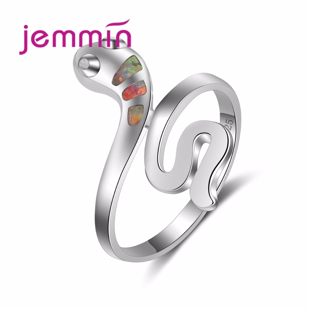 Beautiful Cute Snake Ring Rainbow Opal Animal Ring 925 Sterling Silver Jewelry For Women Girls Special Birthday Gift