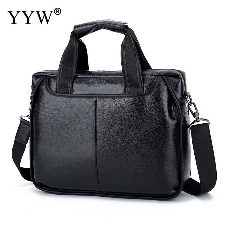YYW Pu Leather Men'S Executive Briefcase Business Male Tote Bag Brown Black Portfolio Bags For Men Case For Documents Bolsos black brown business zipper pu leather portfolio a4 documents folder cases manager bag tablet pc mobile padfolio binder