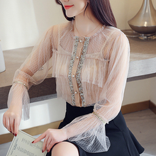 2019 Spring  New Chiffon Blouse Long Sleeve Sequins see through sexy Hollow-out  flare sleeve o neck white Chiffon blouse 36F floral chiffon see thru blouse