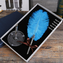 цена на 2019 9 Colors Ostrich Feather Fountain Pen Quill Dip Writing Set Stationey Wedding Gift Office School Supplies Fountain Pen Suit