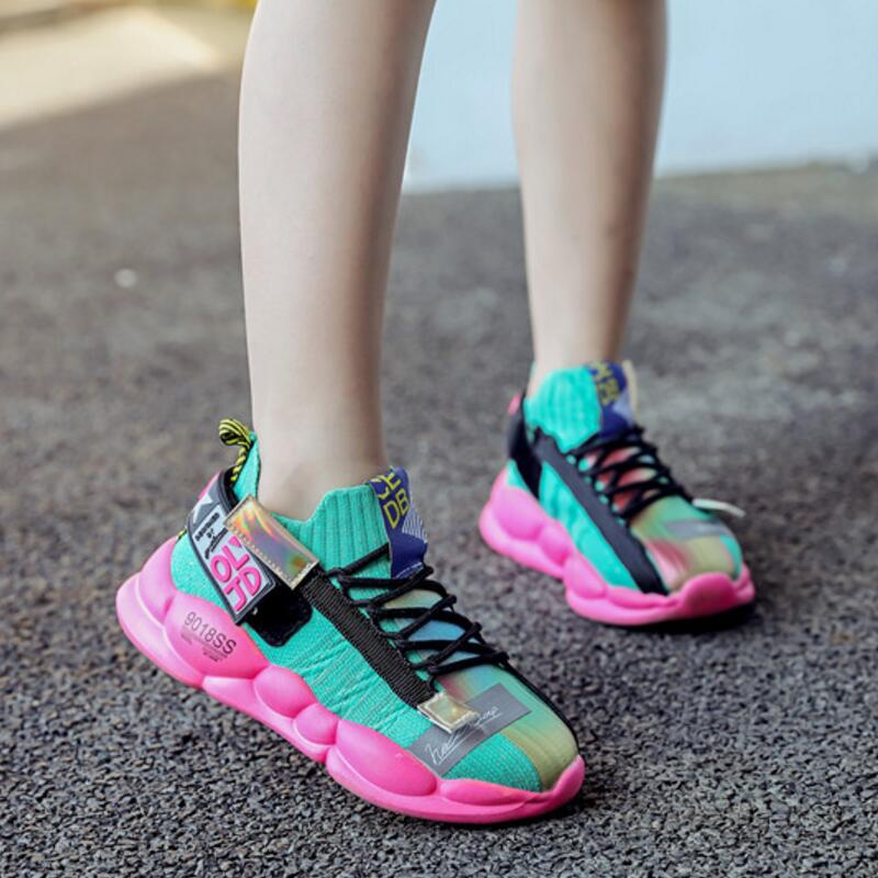 Girls Sneakers Autumn New Children's Shoes Kids Mesh Sports Girls For Shoes Breathable Soft Bottom Size 26-36
