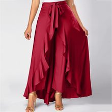 Womens Red Side Zipper Women's Skirt Tie Front Skirts Womens Red Overlay Pants Ruffle Skirt Bow Long Skirt 19March13(China)